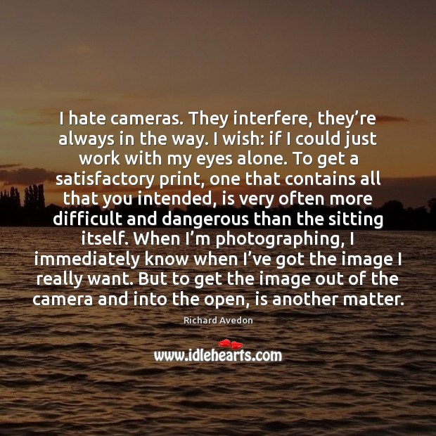 I hate cameras. They interfere, they're always in the way. I Image