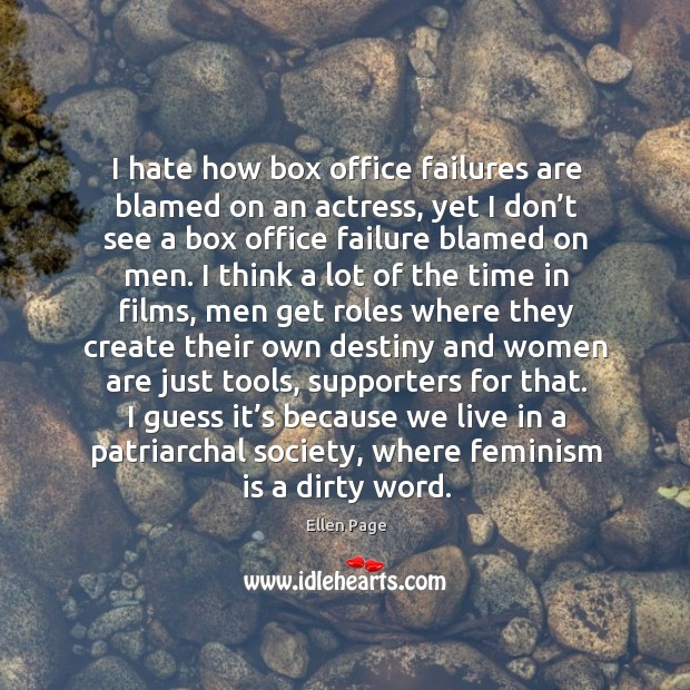 I hate how box office failures are blamed on an actress, yet Image