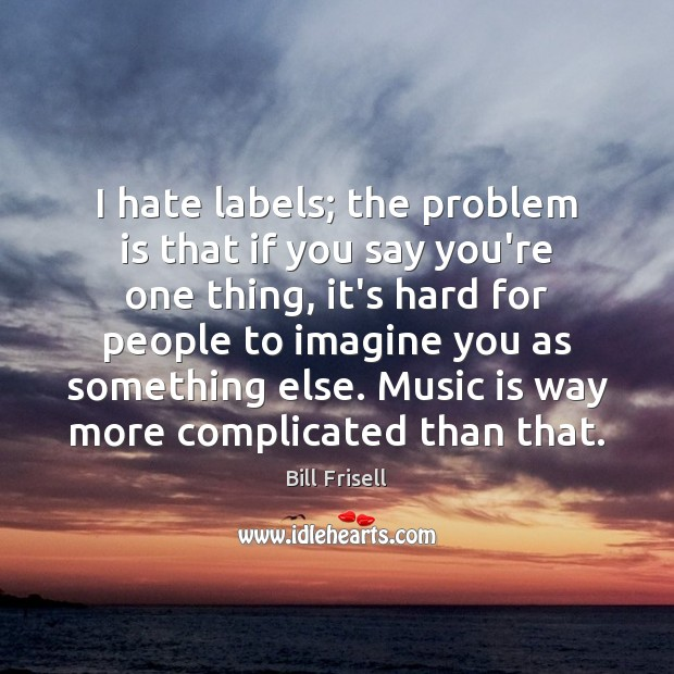 I hate labels; the problem is that if you say you're one Image