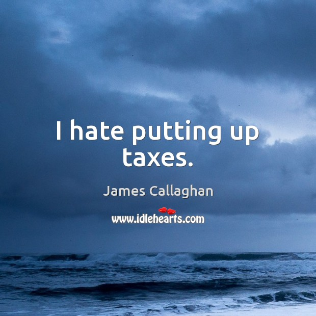 I hate putting up taxes. Hate Quotes Image