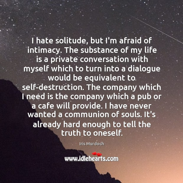 I hate solitude, but I'm afraid of intimacy. The substance of my Image