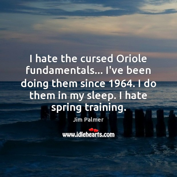 I hate the cursed Oriole fundamentals… I've been doing them since 1964. I Image