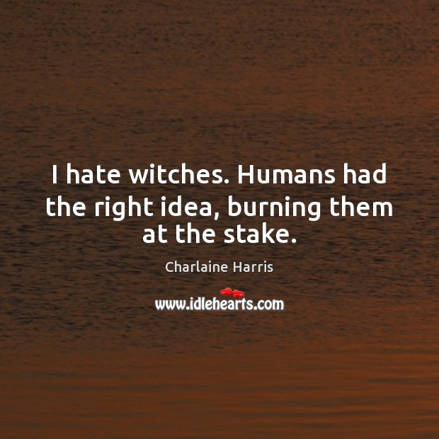 I hate witches. Humans had the right idea, burning them at the stake. Charlaine Harris Picture Quote