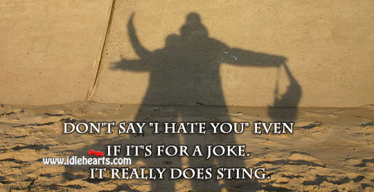 "Don't say ""I hate you"" even if it's for a joke. Hate Quotes Image"