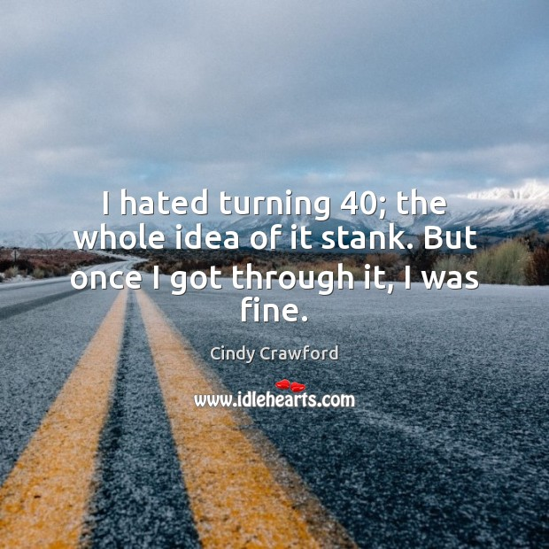 I hated turning 40; the whole idea of it stank. But once I got through it, I was fine. Cindy Crawford Picture Quote