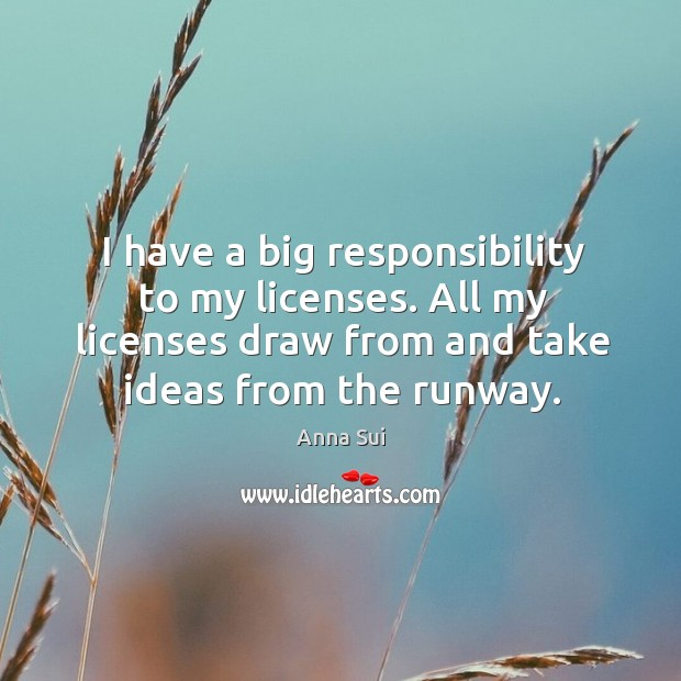 Image, I have a big responsibility to my licenses. All my licenses draw from and take ideas from the runway.