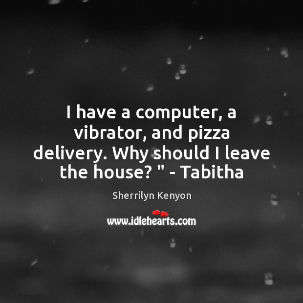 Image, I have a computer, a vibrator, and pizza delivery. Why should I