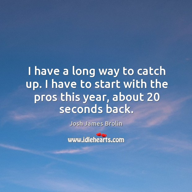 I have a long way to catch up. I have to start with the pros this year, about 20 seconds back. Image