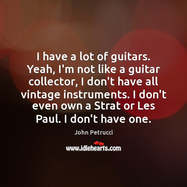 I have a lot of guitars. Yeah, I'm not like a guitar John Petrucci Picture Quote