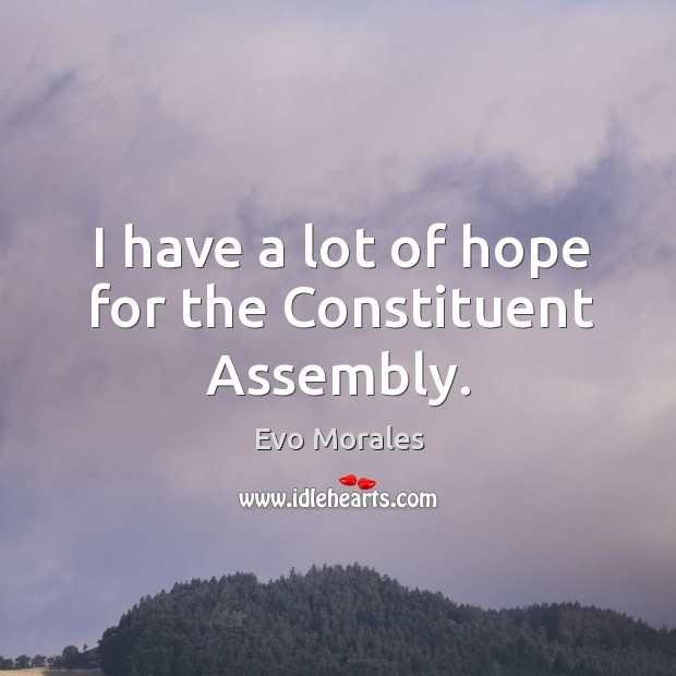 Image, I have a lot of hope for the constituent assembly.