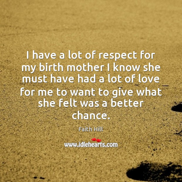 Image, I have a lot of respect for my birth mother I know