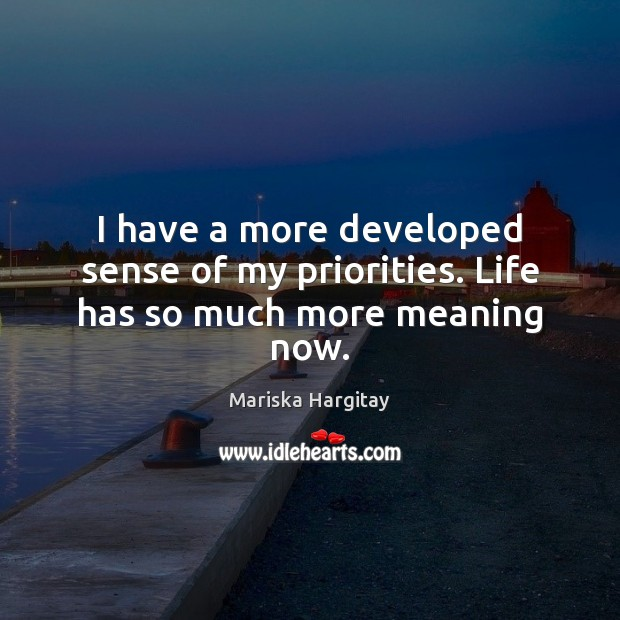 I have a more developed sense of my priorities. Life has so much more meaning now. Mariska Hargitay Picture Quote