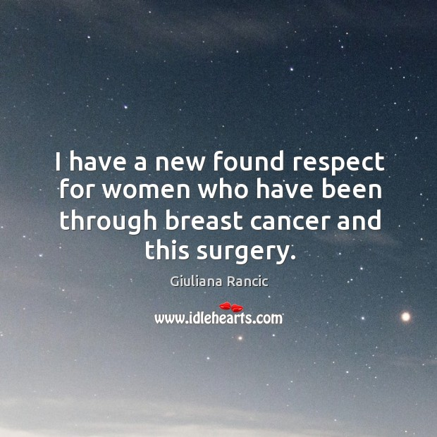 I have a new found respect for women who have been through breast cancer and this surgery. Giuliana Rancic Picture Quote