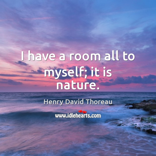 I have a room all to myself; it is nature. Image