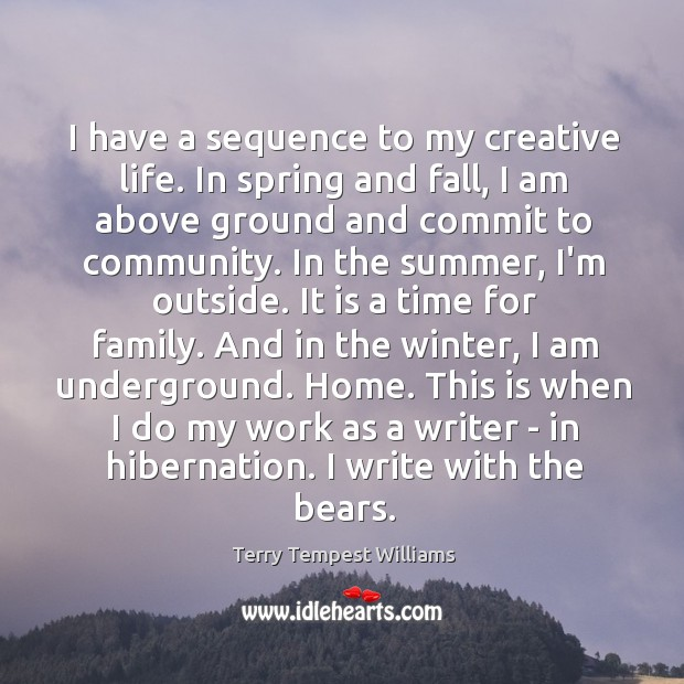 I have a sequence to my creative life. In spring and fall, Image