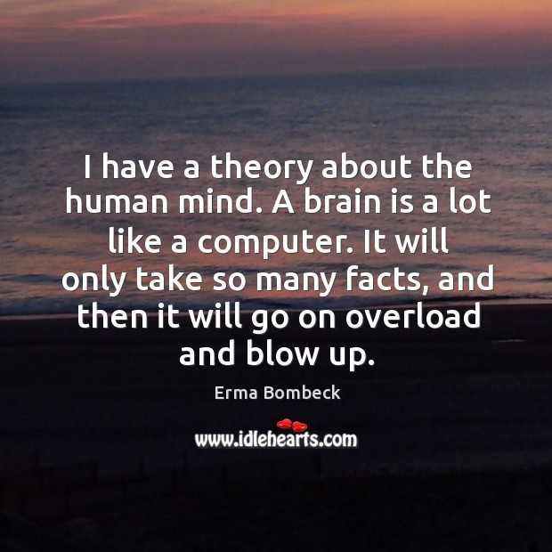Image, I have a theory about the human mind. A brain is a lot like a computer.