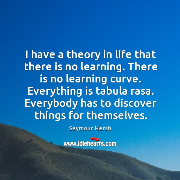 I have a theory in life that there is no learning. There Image