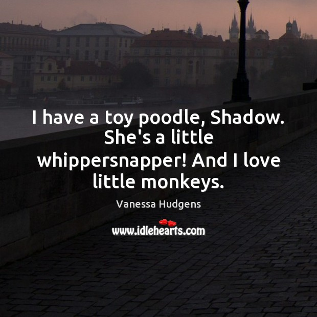 I have a toy poodle, Shadow. She's a little whippersnapper! And I love little monkeys. Vanessa Hudgens Picture Quote