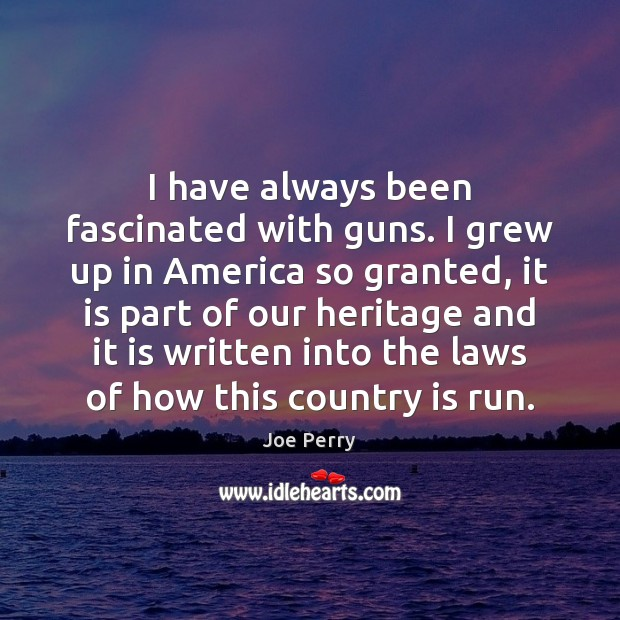 I have always been fascinated with guns. I grew up in America Image
