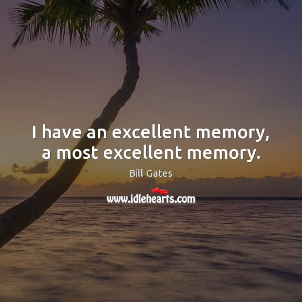 I have an excellent memory, a most excellent memory. Image