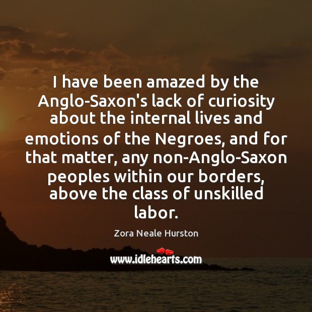 I have been amazed by the Anglo-Saxon's lack of curiosity about the Image