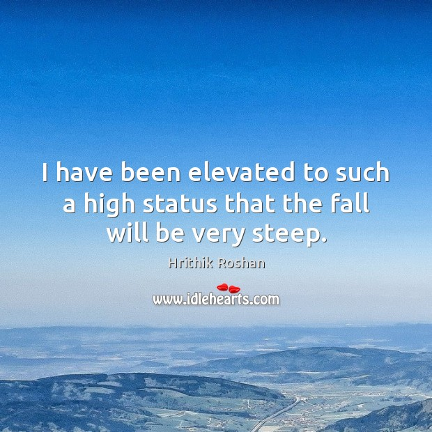 I have been elevated to such a high status that the fall will be very steep. Hrithik Roshan Picture Quote