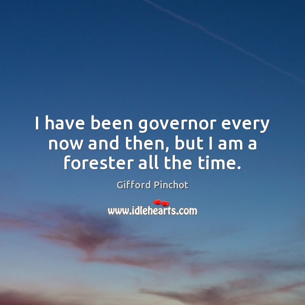 I have been governor every now and then, but I am a forester all the time. Gifford Pinchot Picture Quote