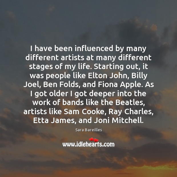 I have been influenced by many different artists at many different stages Image