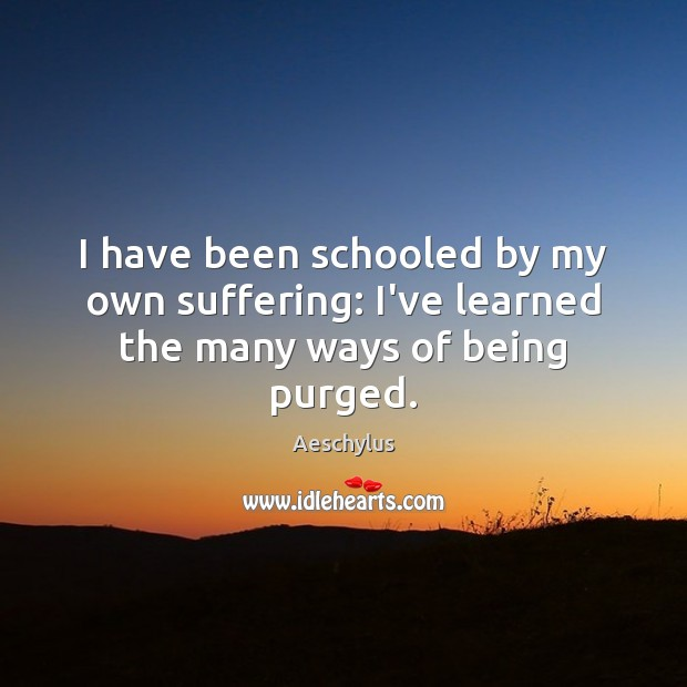 I have been schooled by my own suffering: I've learned the many ways of being purged. Image