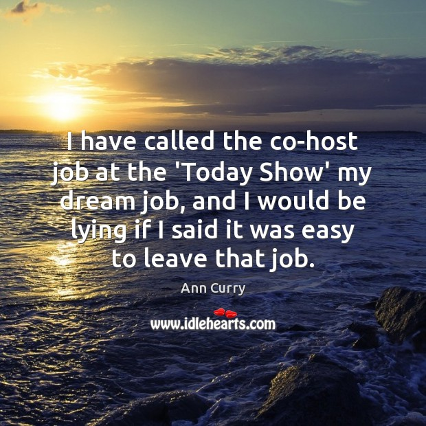 I have called the co-host job at the 'Today Show' my dream Ann Curry Picture Quote