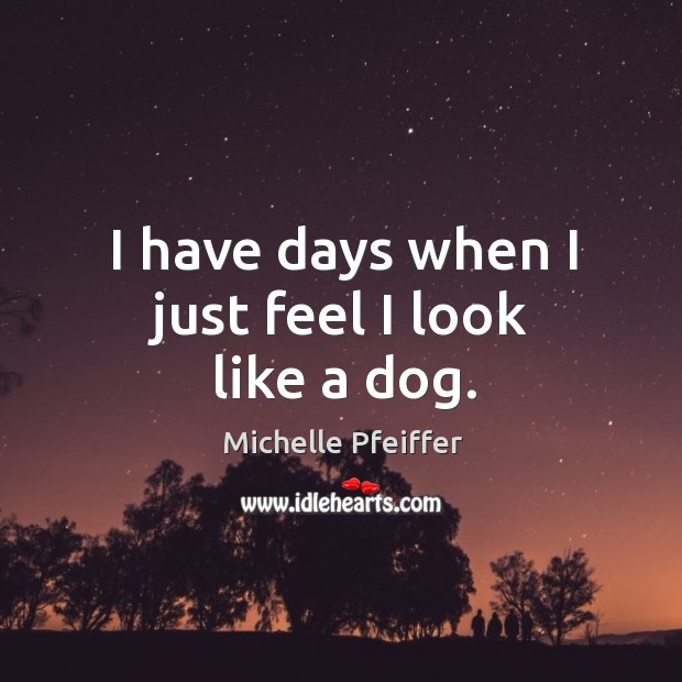 I have days when I just feel I look like a dog. Michelle Pfeiffer Picture Quote