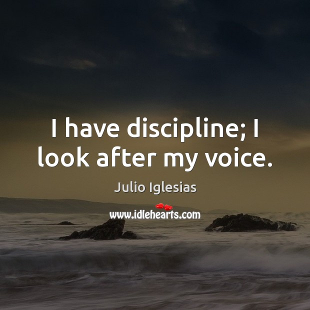 I have discipline; I look after my voice. Julio Iglesias Picture Quote