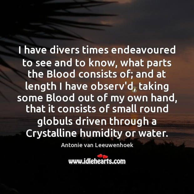 Image, I have divers times endeavoured to see and to know, what parts
