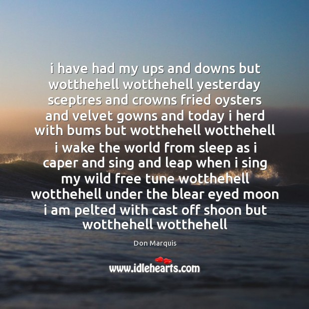 I have had my ups and downs but wotthehell wotthehell yesterday sceptres Don Marquis Picture Quote