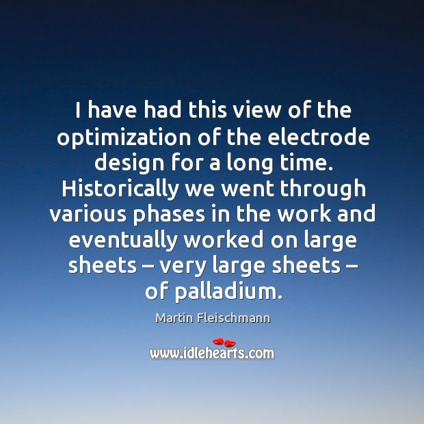 I have had this view of the optimization of the electrode design for a long time. Martin Fleischmann Picture Quote