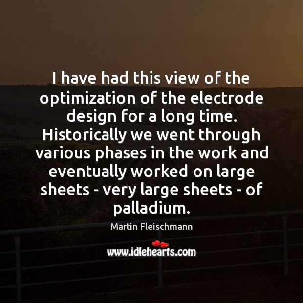 I have had this view of the optimization of the electrode design Martin Fleischmann Picture Quote