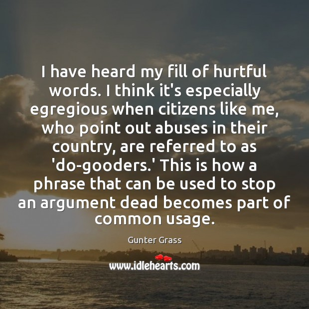 I have heard my fill of hurtful words. I think it's especially Gunter Grass Picture Quote