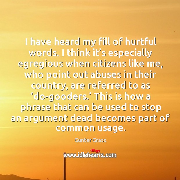 I have heard my fill of hurtful words. I think it's especially egregious when citizens like me Image