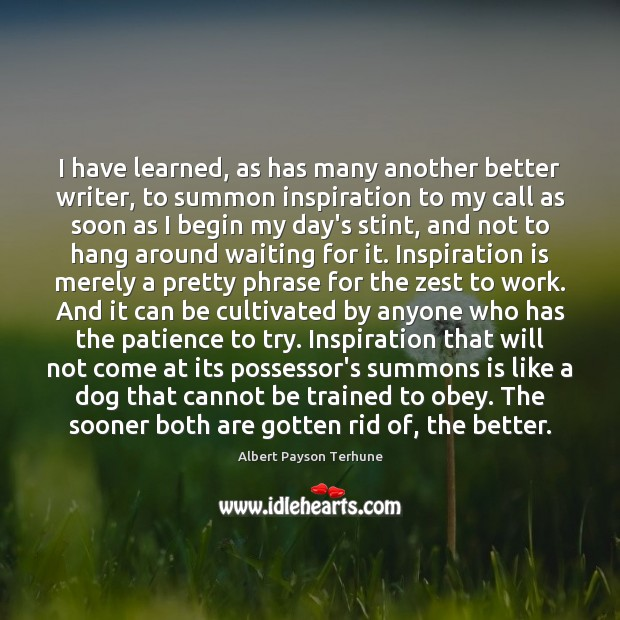 Image, I have learned, as has many another better writer, to summon inspiration