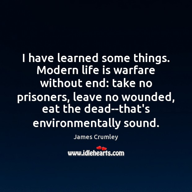 Image, I have learned some things. Modern life is warfare without end: take