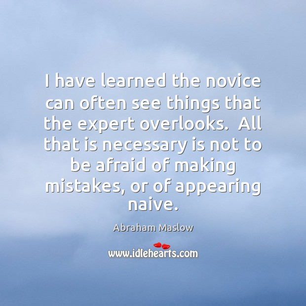 Image, I have learned the novice can often see things that the expert