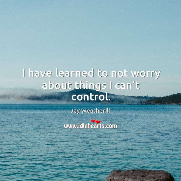 I have learned to not worry about things I can't control. Jay Weatherill Picture Quote