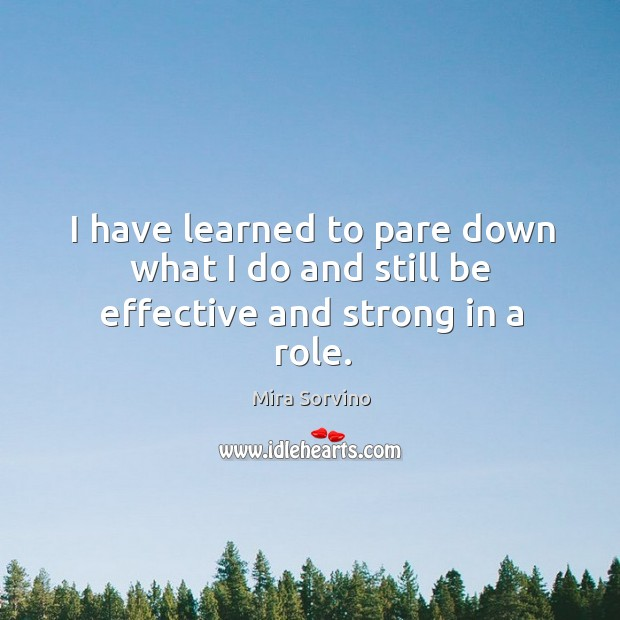 I have learned to pare down what I do and still be effective and strong in a role. Image