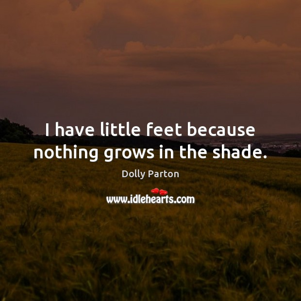 I have little feet because nothing grows in the shade. Image