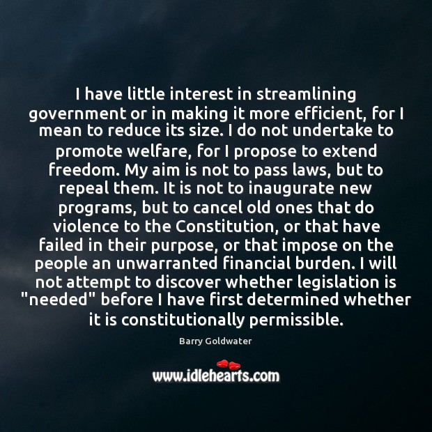 I have little interest in streamlining government or in making it more Image