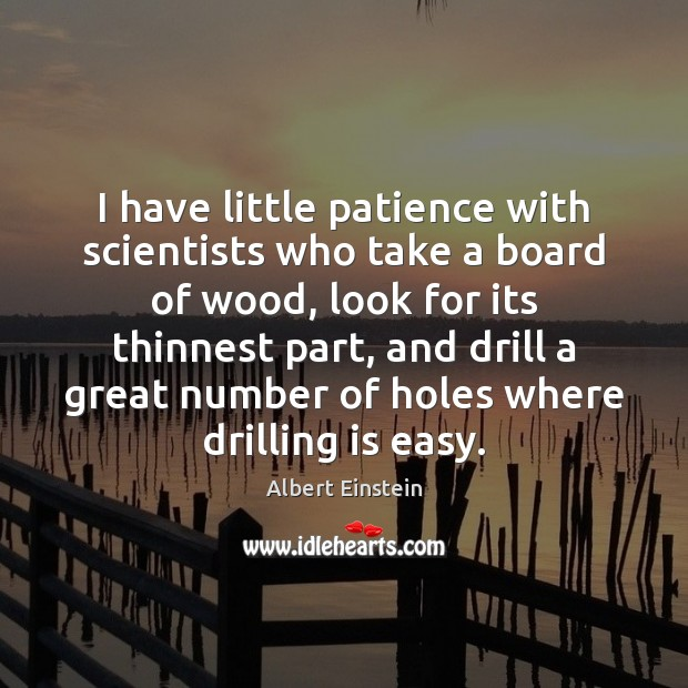 I have little patience with scientists who take a board of wood, Albert Einstein Picture Quote