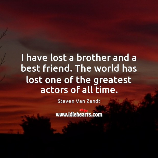 I Have The Best Sister In The World Quotes: Steven Van Zandt Quote: I Have Lost A Brother And A Best