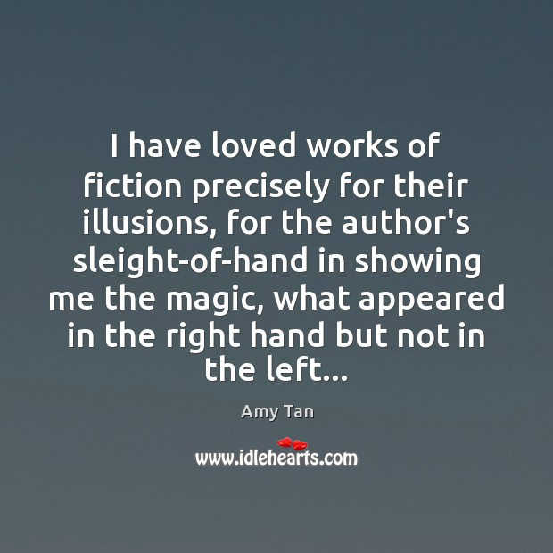 I have loved works of fiction precisely for their illusions, for the Image