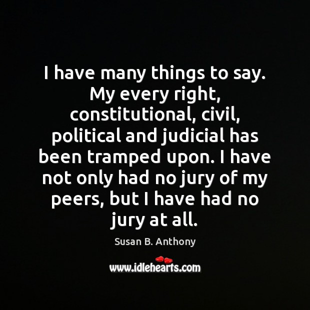 Image, I have many things to say. My every right, constitutional, civil, political
