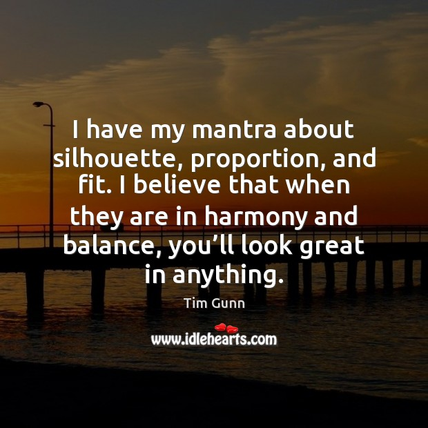 Image, I have my mantra about silhouette, proportion, and fit. I believe that